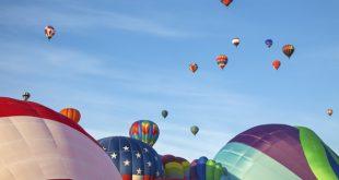Hot air balloons and blue sky. Albuquerque, New Mexico, USA.