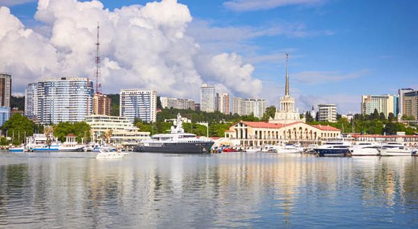 Marine station, Port of Sochi in the central region of Sochi, Russia